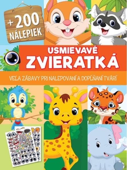 Kniha s nálepkami 200+ usmievavé zvieratká