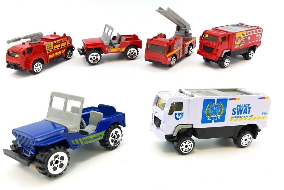Kovové autíčka polícia a hasiči 1:64 - náhodný