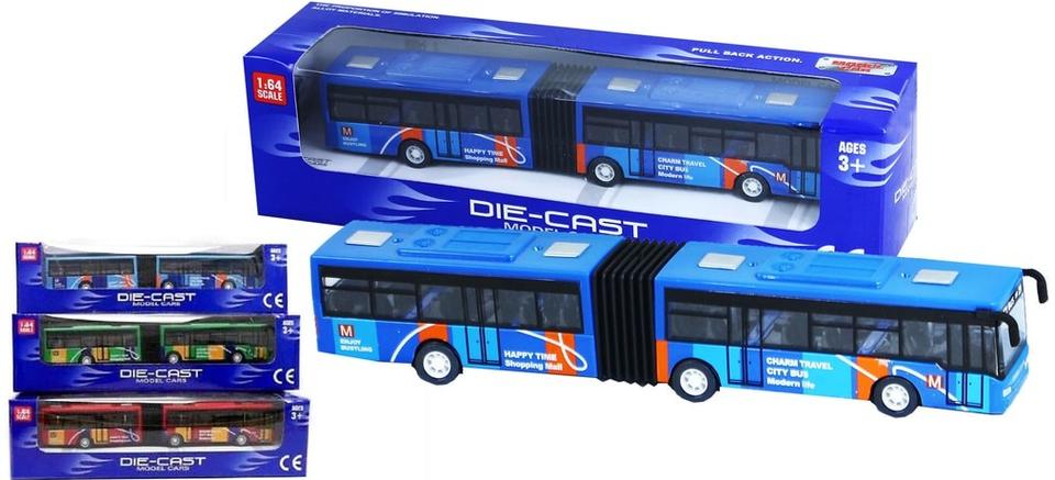 Autobus kovový kĺbový 18cm - náhodná