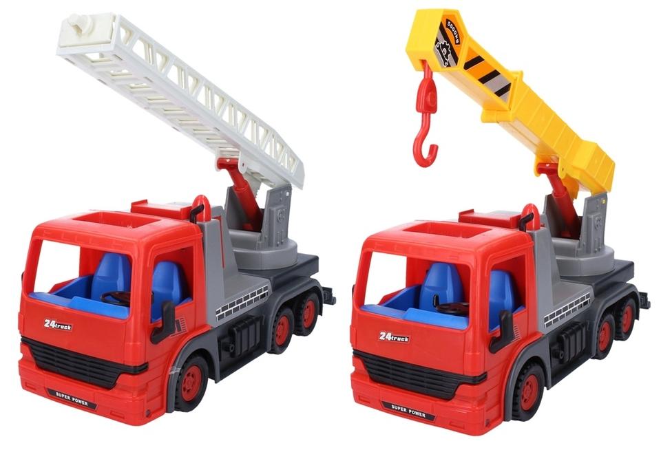 Pracovné auto Truck na zotrvačník 31cm - s výsuvním rebríkom
