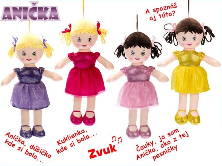 Spievajúca látková bábika Anička 32cm - žltá