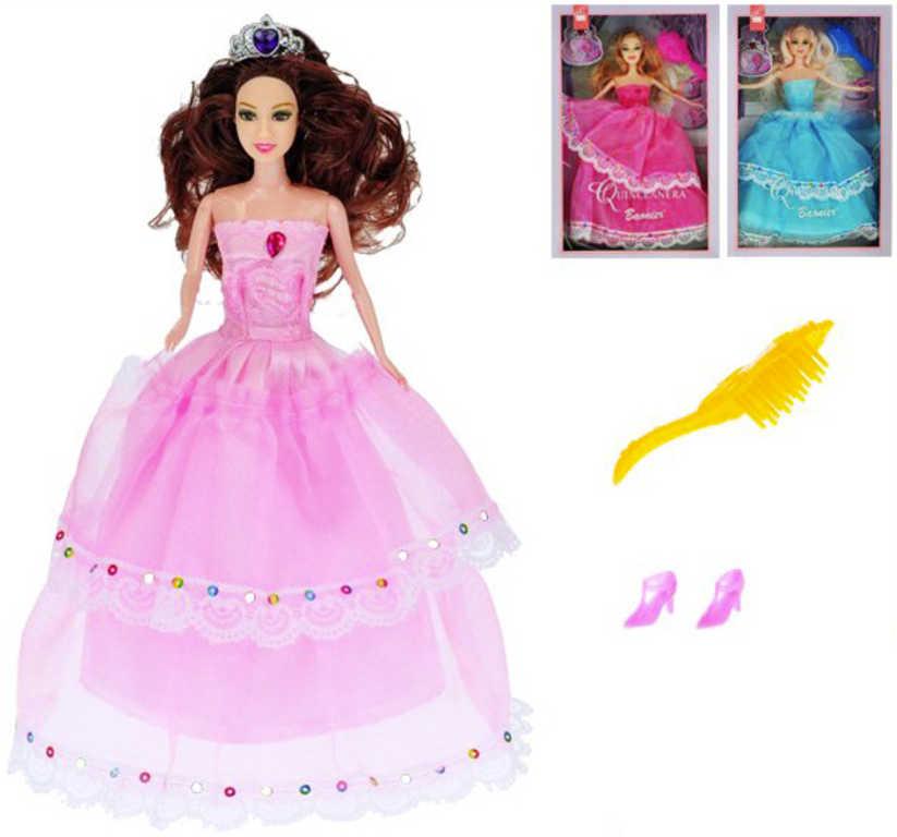 Bábika princezná 29 cm - modrá
