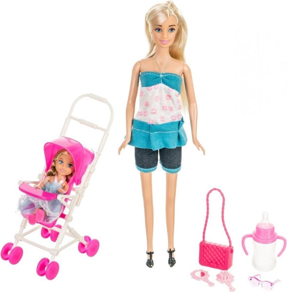 Bábika Anlily s bábätkom 30cm - modrá