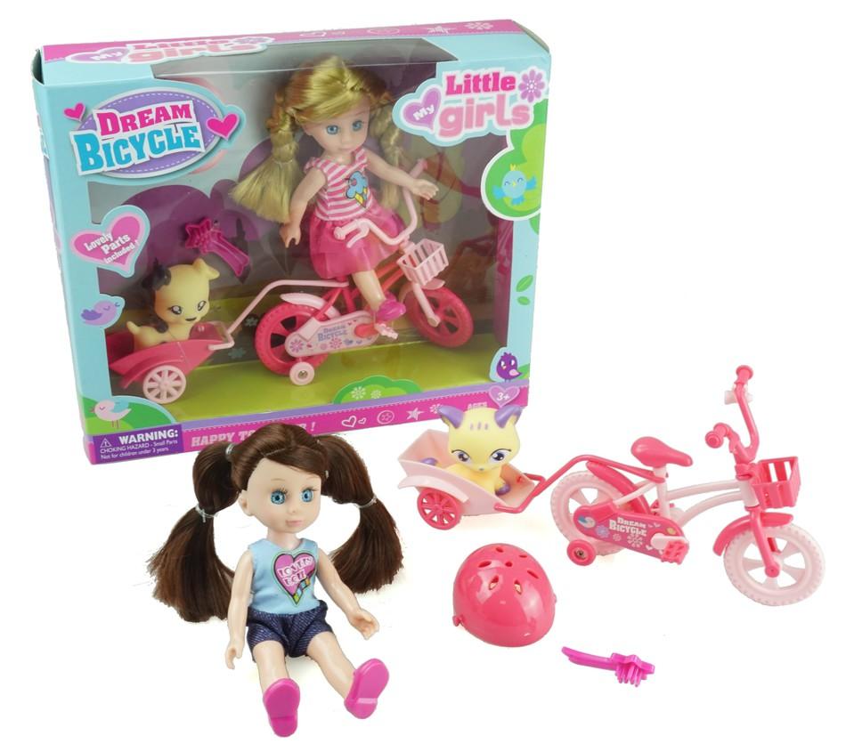 Bábika s bicyklom 15cm - blondína