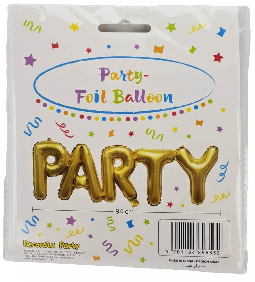Balón zlatý s nápisom Párty