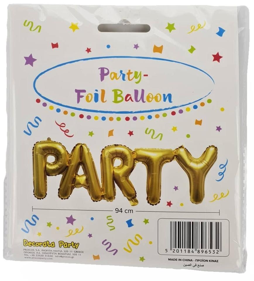 Balón Zlatý - nápis Párty