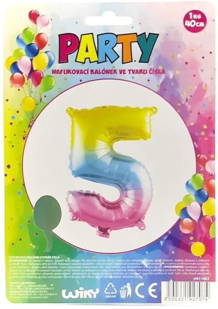 Nafukovací balónik v tvare čísla 5.