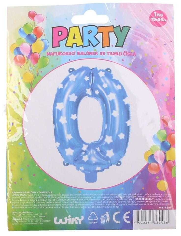 Nafukovací balón modrý s hviezdami, číslo.0