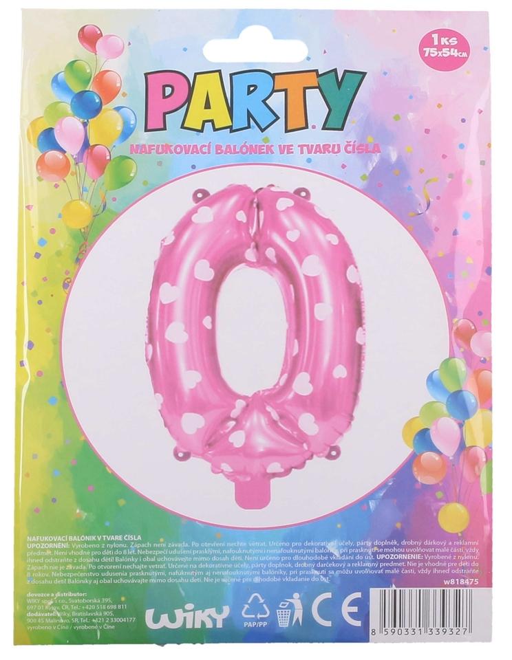 Nafukovací balón ružový so srdiečkami, číslo.0