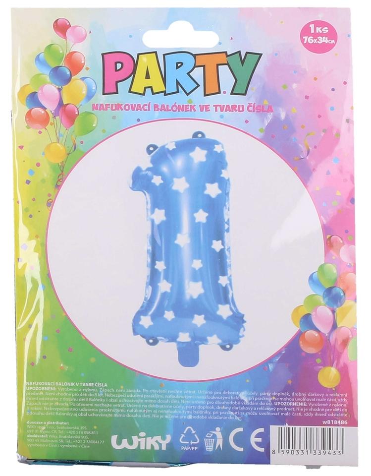 Nafukovací balón modrý s hviezdami, číslo.1