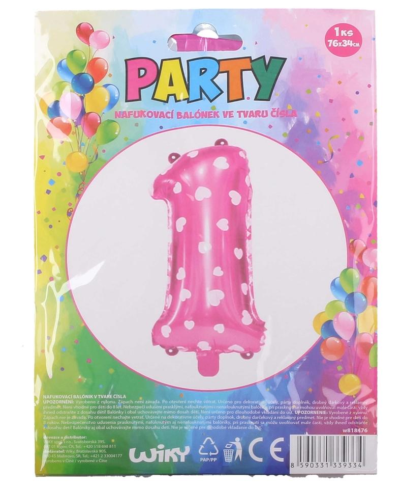 Nafukovací balón ružový so srdiečkami, č.1