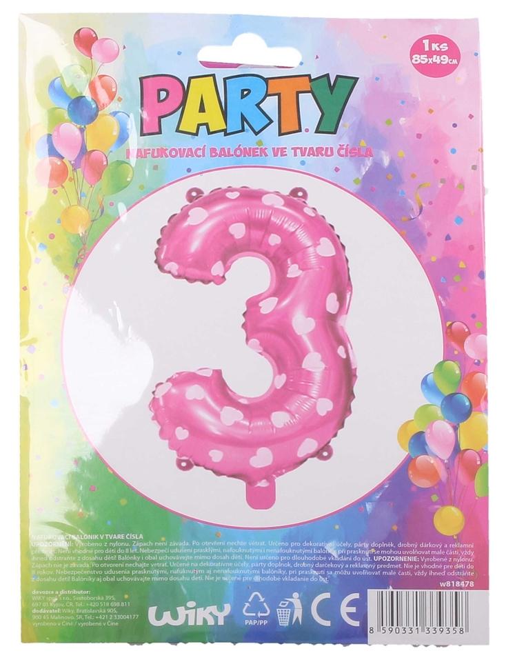 Nafukovací balón ružový so srdiečkami, č.3