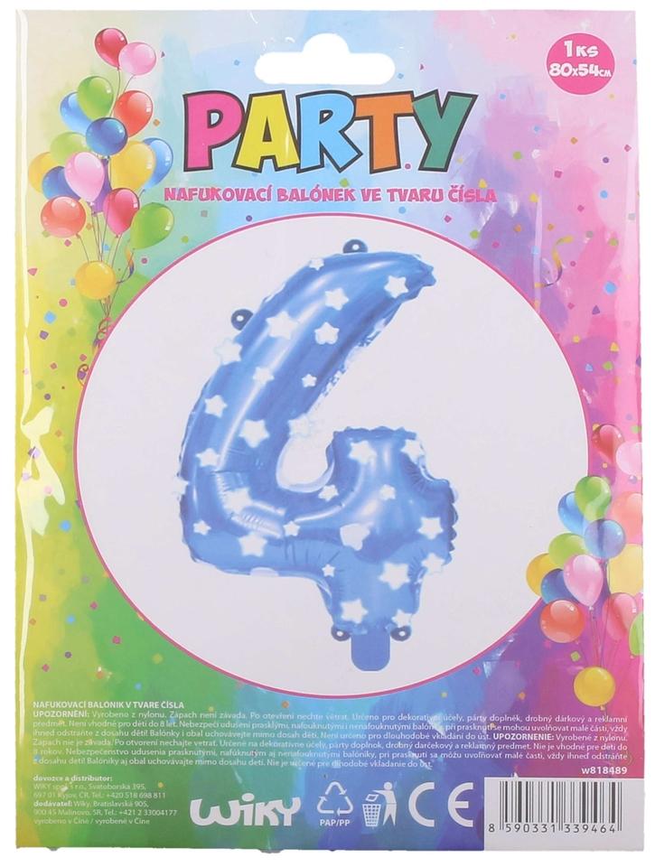 Nafukovací balón modrý s hviezdami, číslo.4
