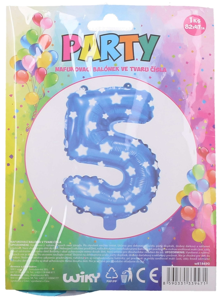 Nafukovací balón modrý s hviezdami, číslo.5