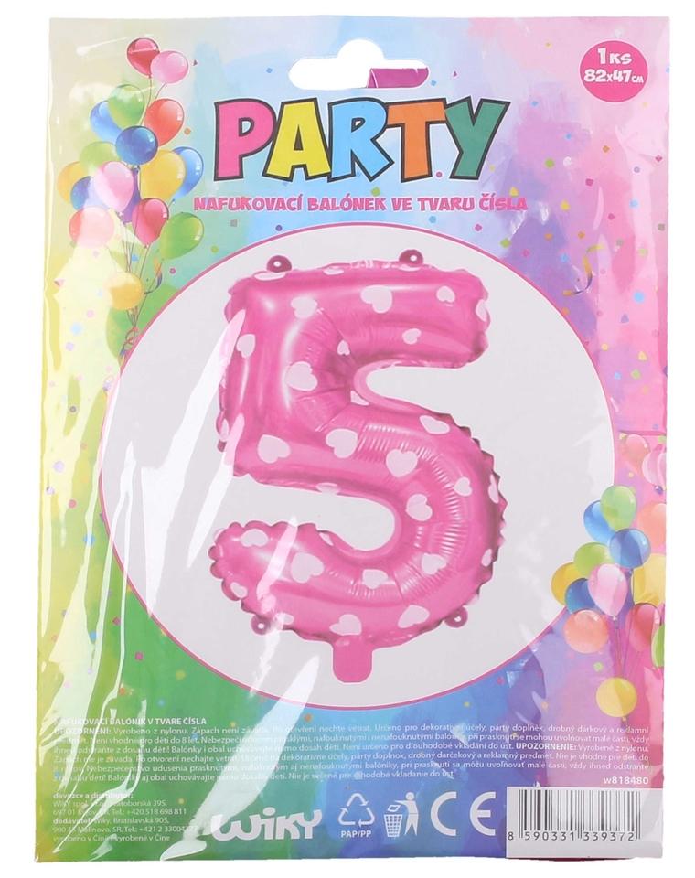 Nafukovací balón ružový so srdiečkami, č.5
