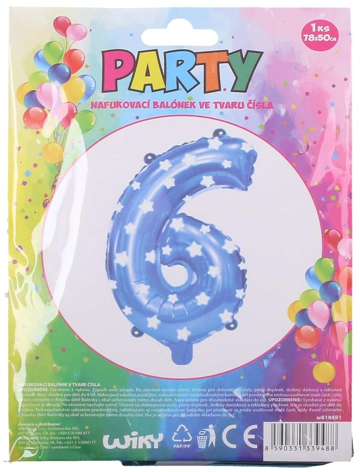 Nafukovací balón modrý s hviezdami, číslo.6