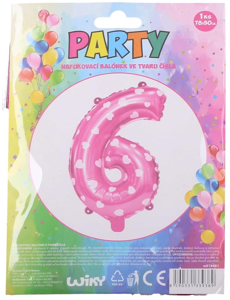 Nafukovací balón ružový so srdiečkami, číslo.6