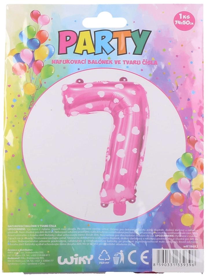 Nafukovací balón ružový so srdiečkami, číslo.7