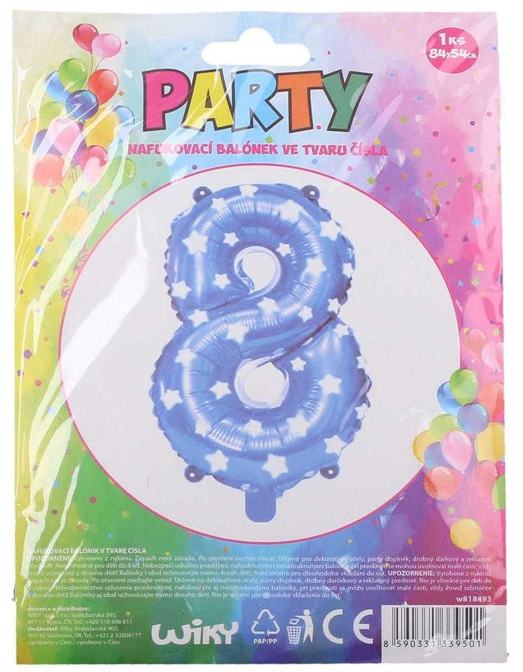 Nafukovací balón modrý s hviezdami, číslo.8