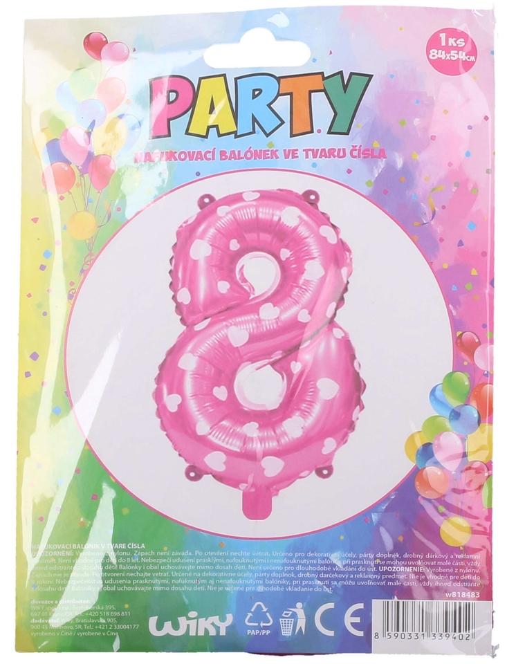 Nafukovací balón ružový so srdiečkami, číslo.8