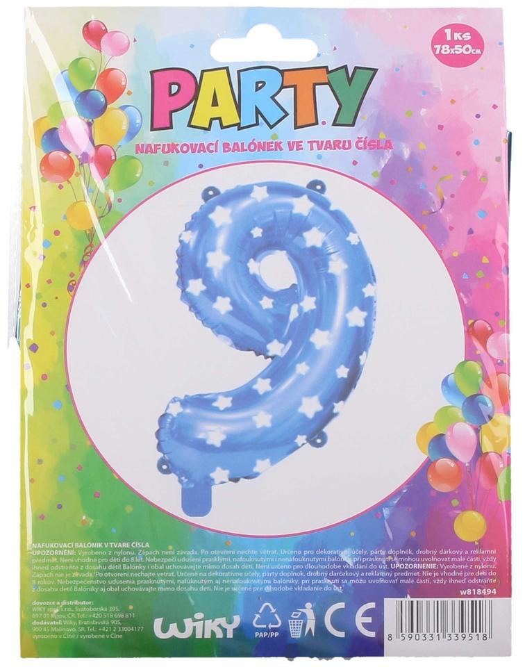 Nafukovací balón modrý s hviezdami, číslo.9