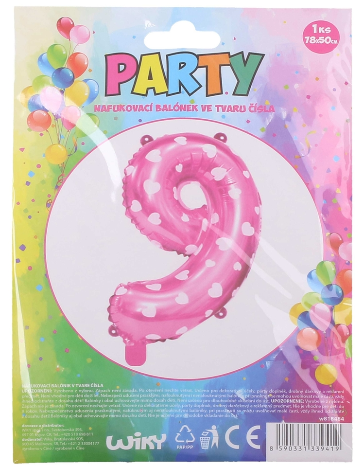Nafukovací balón ružový so srdiečkami, číslo. 9