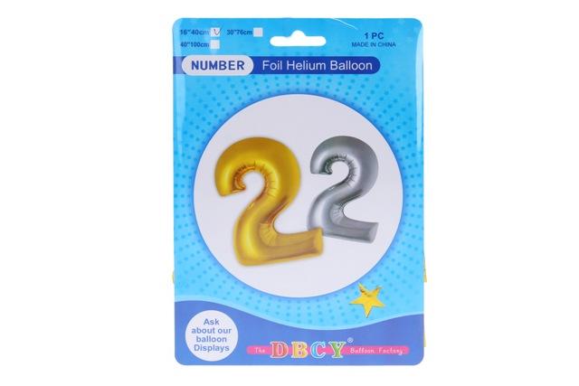 Balónik v tvare čísla 2 - strieborná