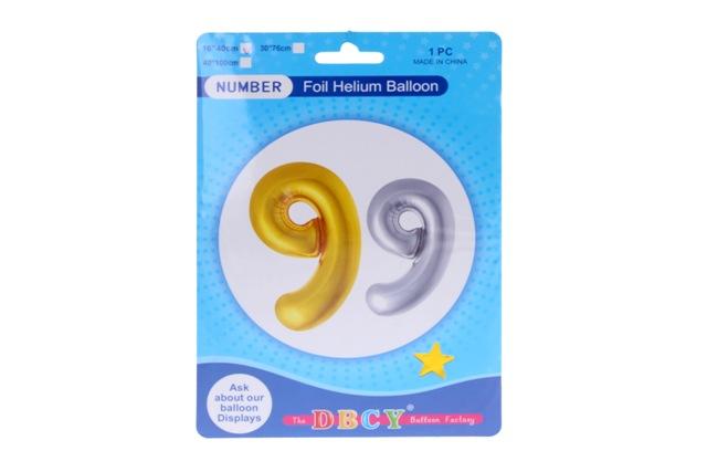 Balónik v tvare čísla 9 - zlatá