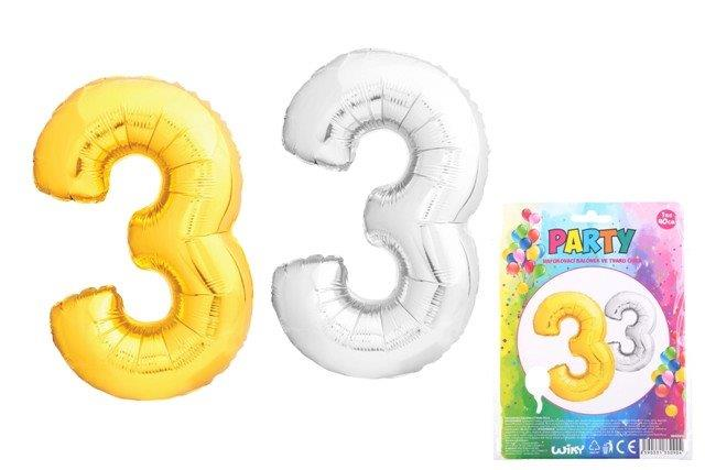 Balónik v tvare čísla 3 - strieborná