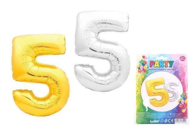 Balónik v tvare čísla 5 - zlatá