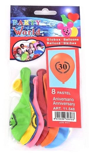 Balóny s číslom 30, 8ks