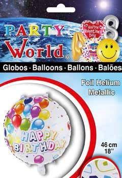 Balón fóliový Happy Birthday 46cm