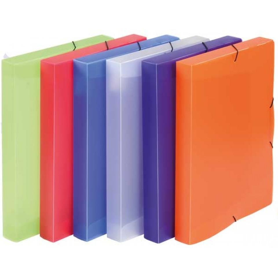 Box na spisy s gumičkou A4/5farieb - oranžová
