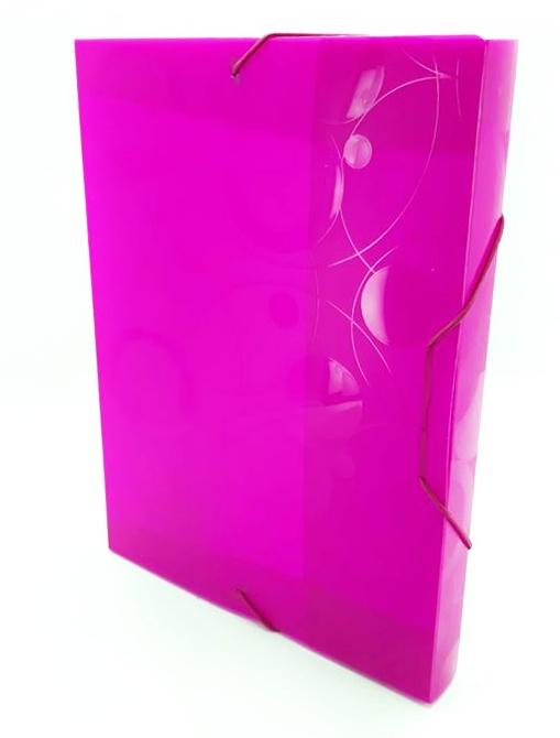 Box na spisy s gumou A4 - ružový