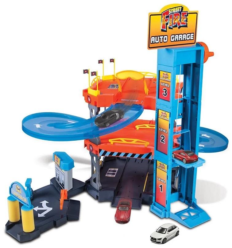 Bburago Street Fireauto garáž hrací set + 2 ks auto 1:43