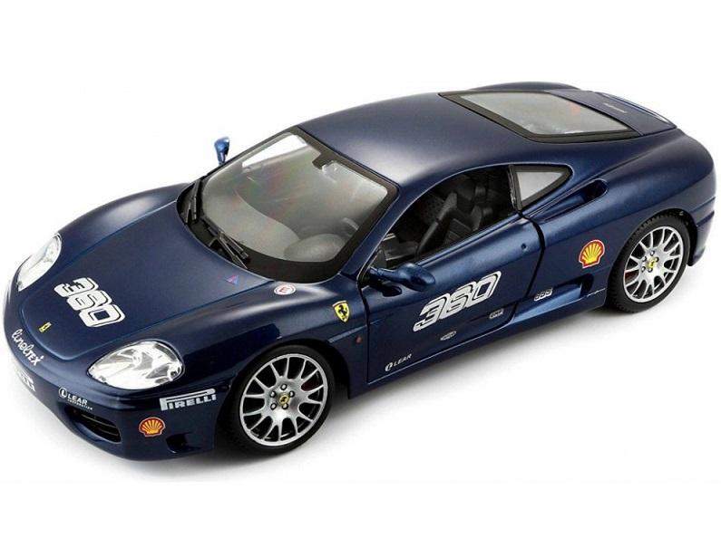 Bburago Ferrari Racing 360 Challenge modrá 1:24