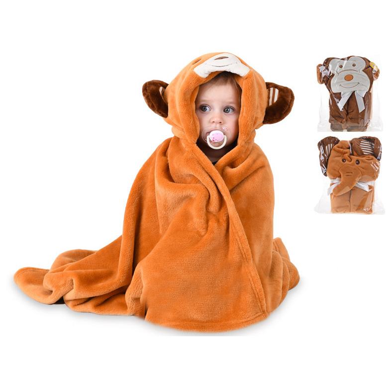 Detská deka zvieratko s kapucňou 100x75cm 3druhy - opica