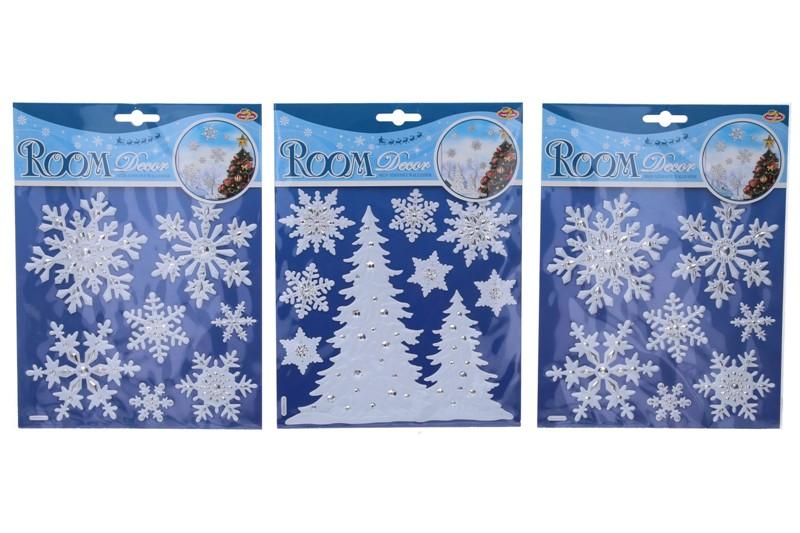 Vianočné nálepky 3D 24x18cm - stromčeky