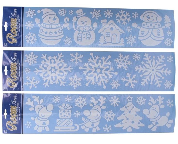 Vianočná nálepka 63,5x15cm - snehuliak