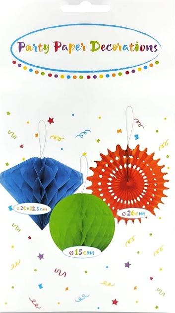 Párty papierové dekorácie mix 3ks