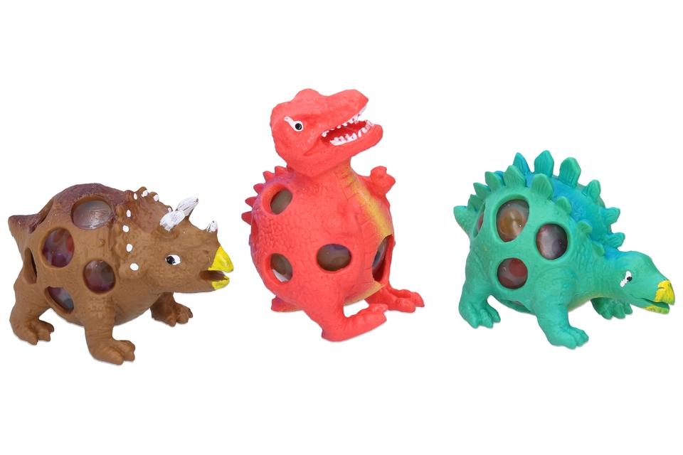 Stláčací dinosaurus 9cm - hnedá
