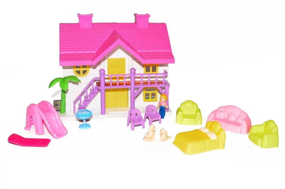 Domček pre bábiky sada 15cm - zelená strecha