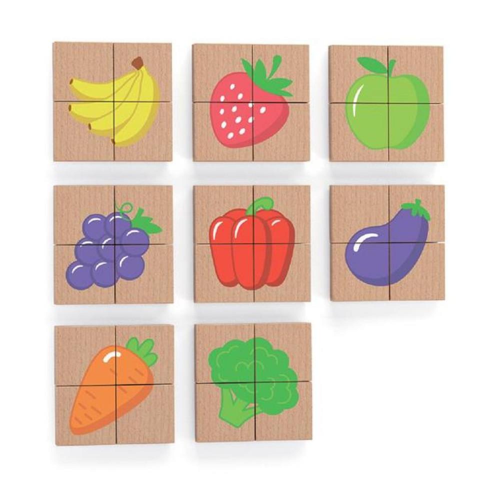 Drevené magnetické puzzle ovocie