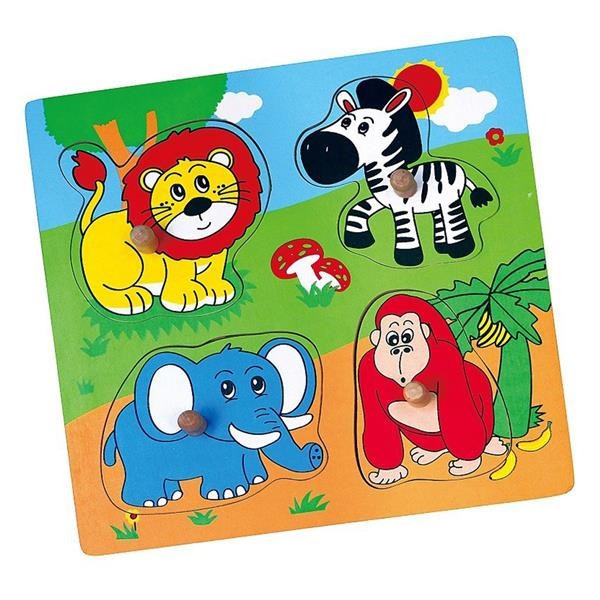 Viga Drevená vkladačka zoo zvieratká 4ks