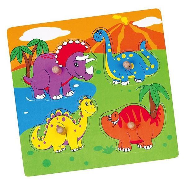 Viga Drevená vkladačka dinosaury 4ks