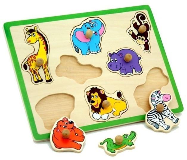 Drevená vkladačka zoo zvieratká 8ks