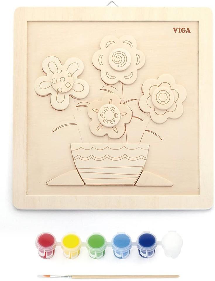 Viga Maľovanie na drevo kvety