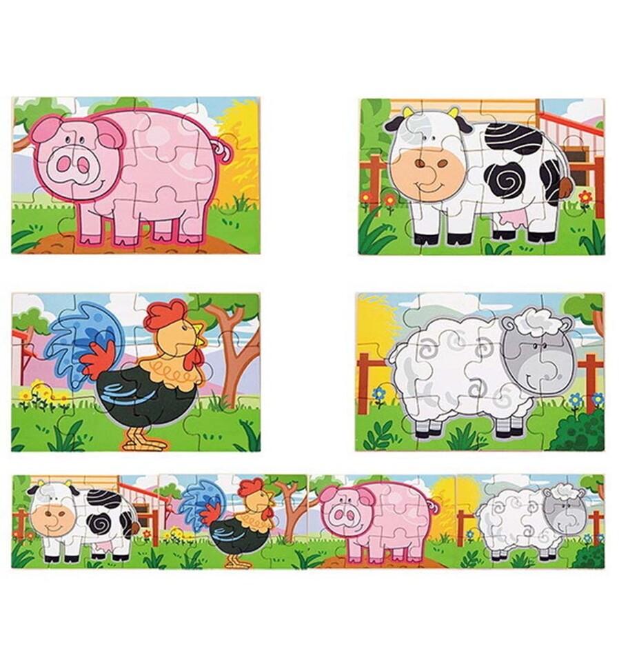 Viga Drevené puzzle farma
