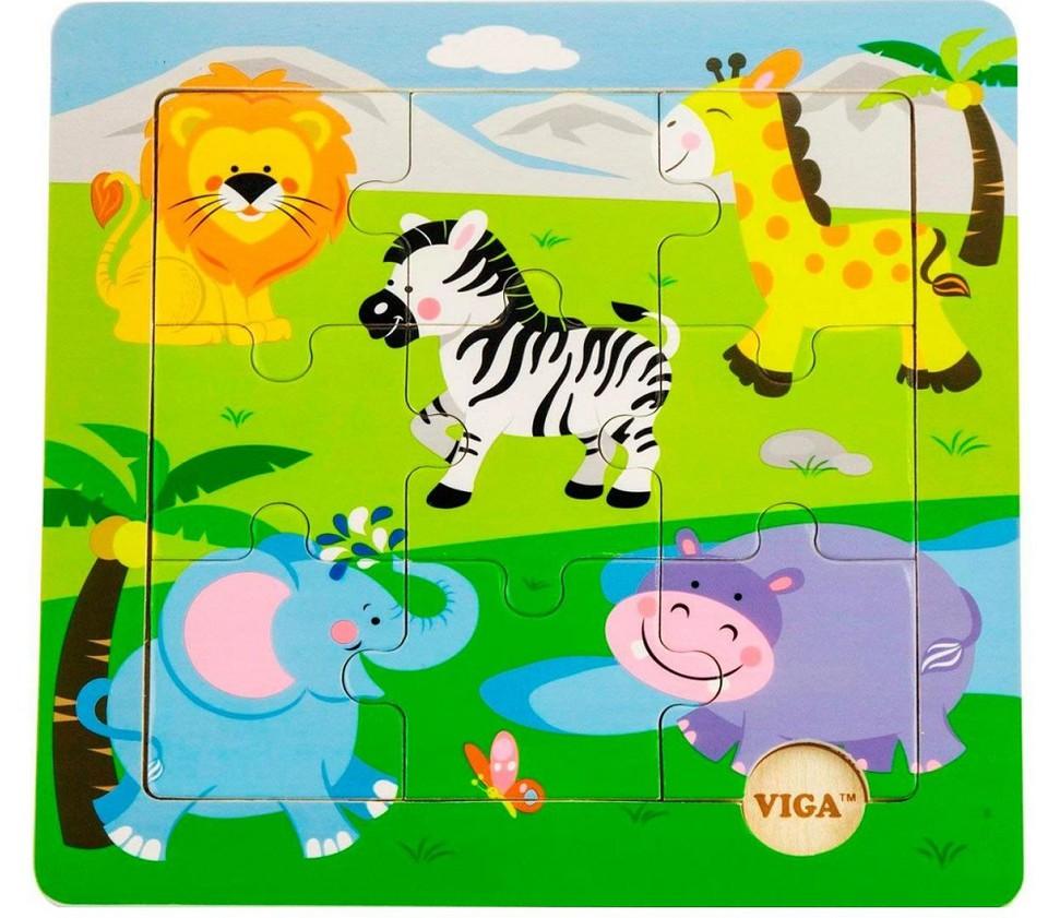 Viga Drevené puzzle safari 9ks