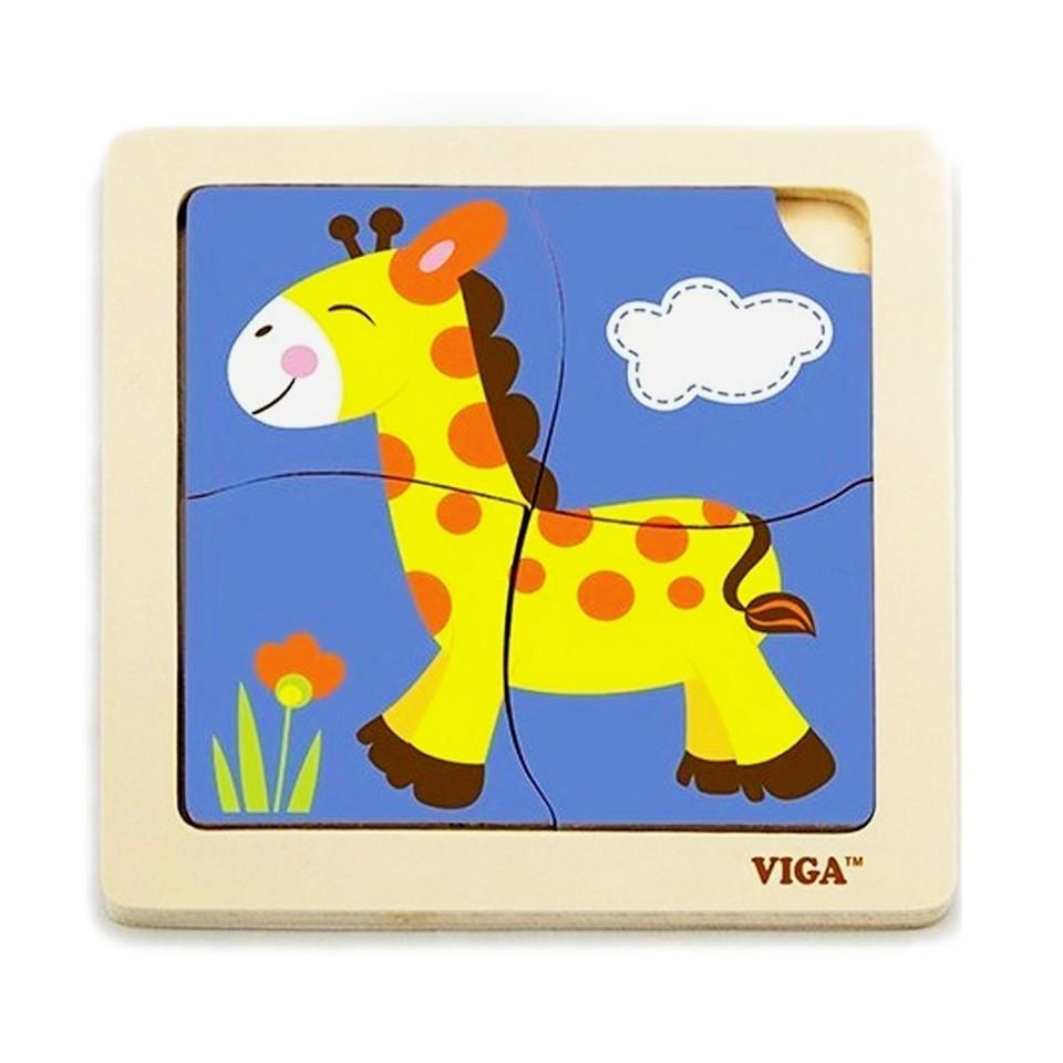 Viga Drevené puzzle žirafa 4ks
